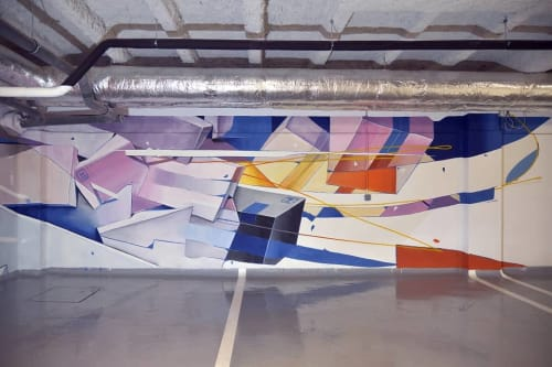 "Murals by Oscar Maslard - SCKARO seen at La Hune Coworking, Le Havre - ""Moving Boxes"""