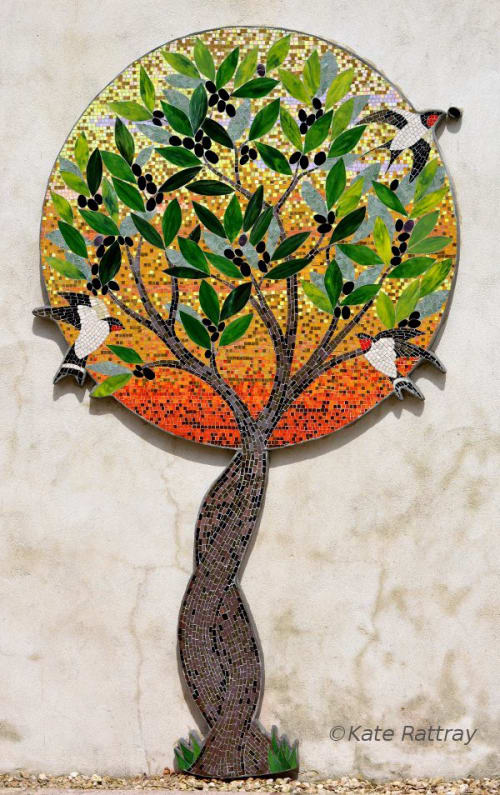 Murals by Kate Rattray Mosaic Artist seen at Private Residence, Shaftesbury - The Olive Tree