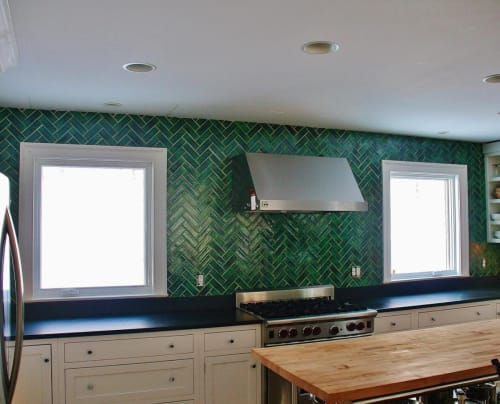 Tiles by Bantam Tileworks seen at Private Residence - Handmade custom green glazed tile