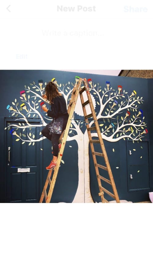 Murals by Joanne Murphy seen at Templeogue Village, Dublin - Paintbrush Tree