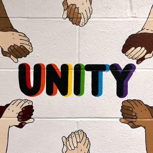 Murals by Two Brushes seen at Pembroke Elementary School, Danbury - Unity