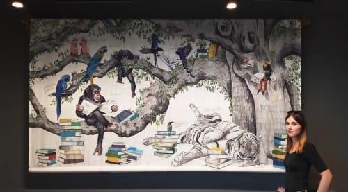 Murals by Romina Rosa seen at NinetyNine Munich Airport, Hallbergmoos - Lounge mural
