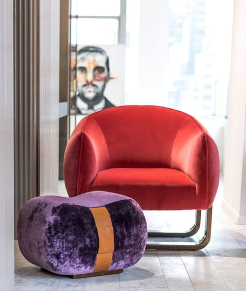 Chairs by Marie Burgos Design seen at d&d Building, New York - Milo Armchair and Milo Beam ottoman - Moss fabric  + Fetish Table Black leather