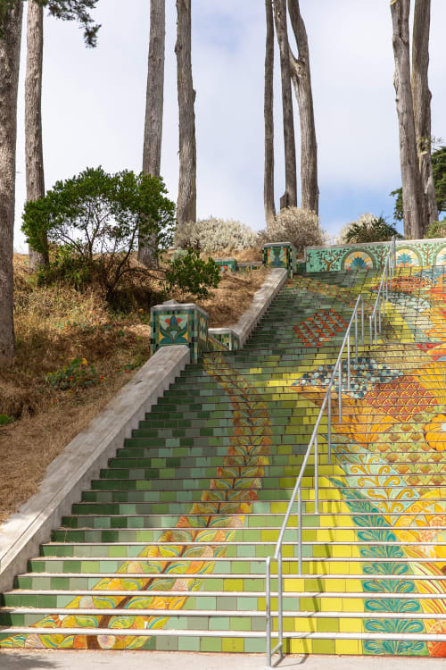 Tiles by Aileen Barr seen at Lincoln Park Steps, San Francisco - Lincoln Stairway Project