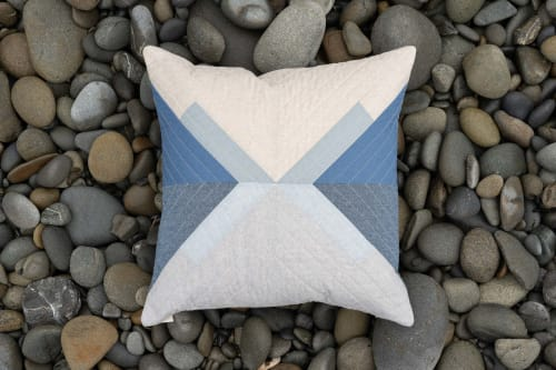 pillow quilted blue white gray