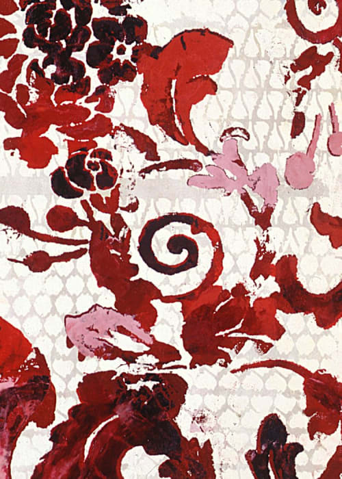 Art Curation by Margaret Lanzetta seen at Private Residence, New York - Italian Renaissance floral textile patterns painted and silkscreened in luscious shades of crimson, cranberry, red, pink, and dusty rose on peach gold background