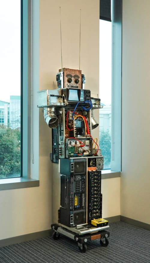 """Sculptures by ANTLRE - Hannah Sitzer seen at Google RWC SEA6, Redwood City - """"Forest the Robot"""""""