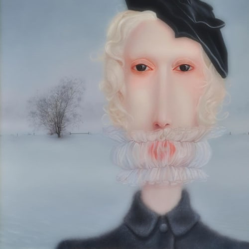 "Paintings by Troy Brooks seen at Private Residence, Toronto - ""Cold War/Blue Dissolve - from my Colossus series 2011"""