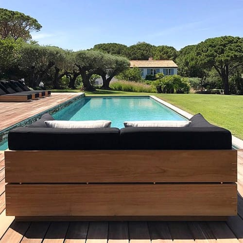 Benches & Ottomans by Ann Marie Vering seen at Private Residence, Saint-Tropez - McQueen collection
