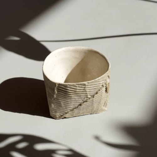 Cups by Ray G Brown seen at Kosa Arts, Oakland - Cardboard Ceramics Espresso Cup