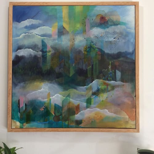 "Paintings by Lan Yao seen at 1914 Coffee Company., Squamish - ""Emerald City"" Painting"
