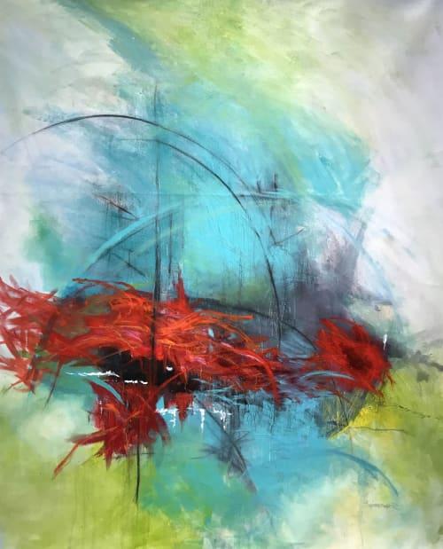 "Paintings by Karen Goetzinger seen at Darrell Thomas Textiles, Ottawa - ""Waking Sounds"" - Display windows Darrell Thomas Textiles"