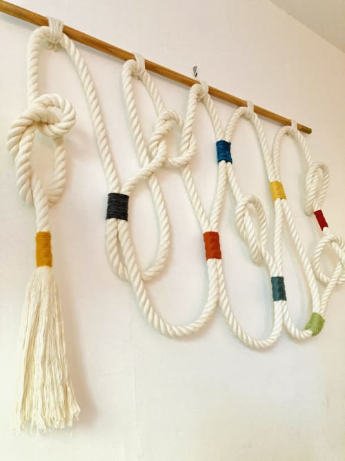 Wall Hangings by Trudy Perry seen at Private Residence, Topanga - Natural Knotted Rope Wall Hanging