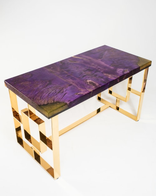 Tables by Lumberlust Designs seen at Private Residence, Phoenix - Royal Purple Maple Burl + Gold Executive Lux Desk