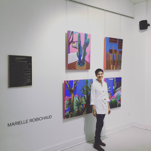 Paintings by Marielle Robichaud seen at Private Residence, New York - Casa Gilardi, jardin
