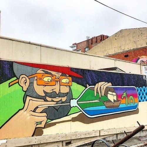 Murals by Sonny Wong seen at Eureka, Eureka - The Shipbuilder