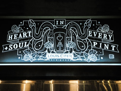Murals by Leslie Phelan Mural Art + Design seen at Louis Cifer Brew Works, Toronto - Heart & Soul in Every Pint