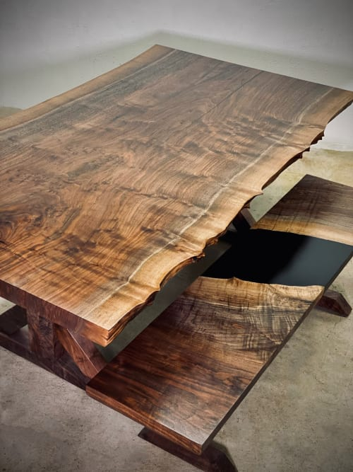 Live Edge Walnut Table and Trestle Base | Tables by Citizen Wood Company