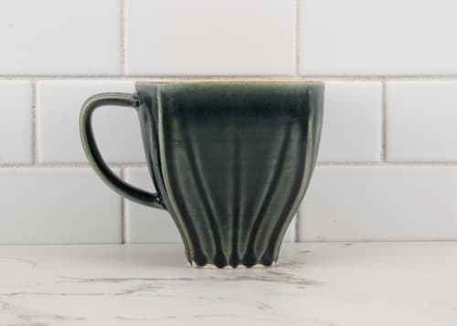 Cups by M.L. Pots seen at Creator's Studio, Borden - Draped Coffee Cup with Nightfall Grey Glaze - 001