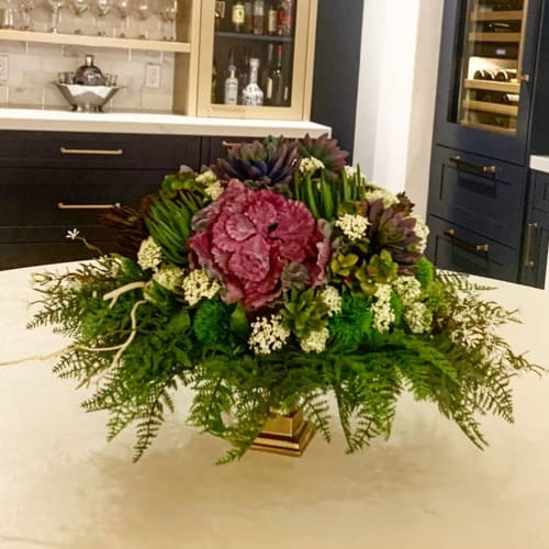 Floral Arrangements by Fleurina Designs seen at Private Residence, Los Gatos - Grand Silk Succulent Centerpiece
