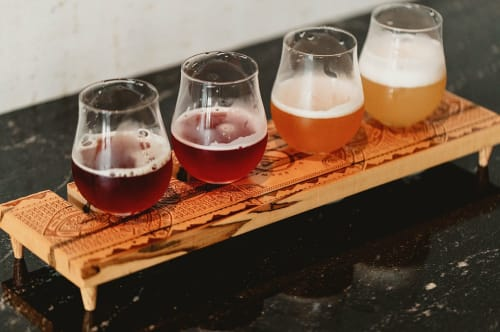 Tableware by The Timbered Wolf by Christopher Dean seen at Väsen Brewing Company, Richmond - Beer Flight Board