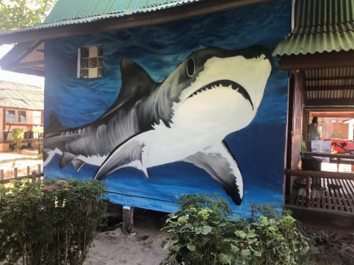 Murals by Vally_M_Art seen at Koh Phangan, Thailand - Swimming In The Big Deep Sea
