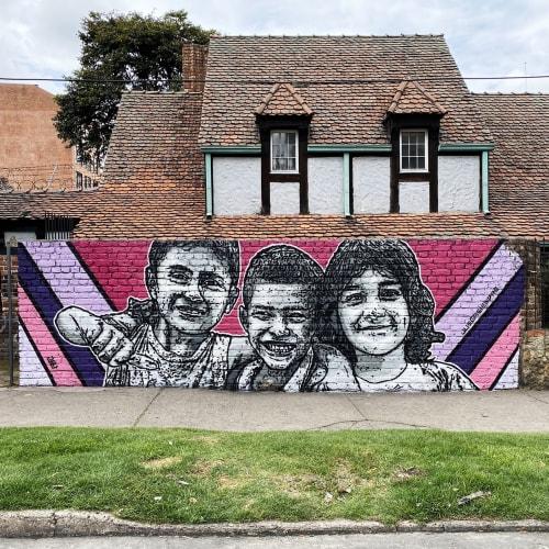 Street Murals by DjLu / Juegasiempre seen at Bogota, Bogotá - Educación es equidad / Education is equity