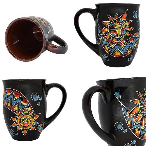 """Cups by Cupscho seen at Private Residence, Kharkiv - Pottery coffee (tea) mug """"Esoteric"""" 16.9 fl oz"""