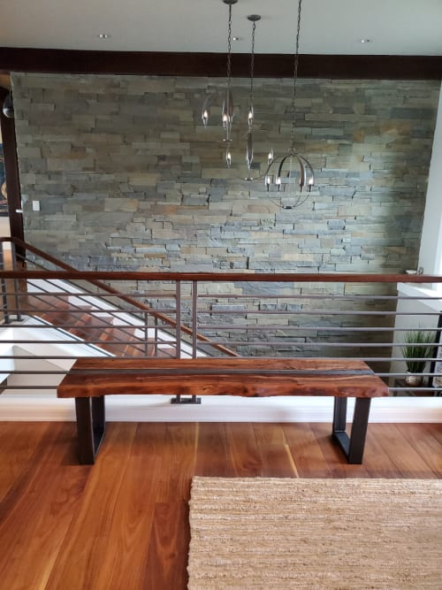 """Benches & Ottomans by Todd Alan Woodcraft seen at Private Residence, Vancouver - """"Columbia River"""" Live Edge Walnut Bench"""