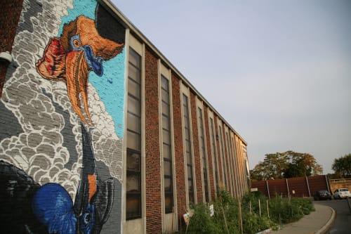 Street Murals by JALLEN Art and Design seen at YWCA, Worcester - Pow Wow Hornbills