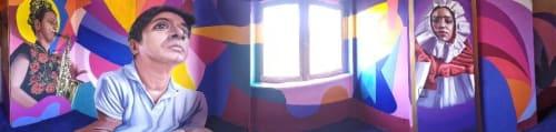 "Murals by Oscar Axo Art seen at STREET ART CITY, Lurcy-Lévis - ""El Tequio"" , Zapotec Pride"