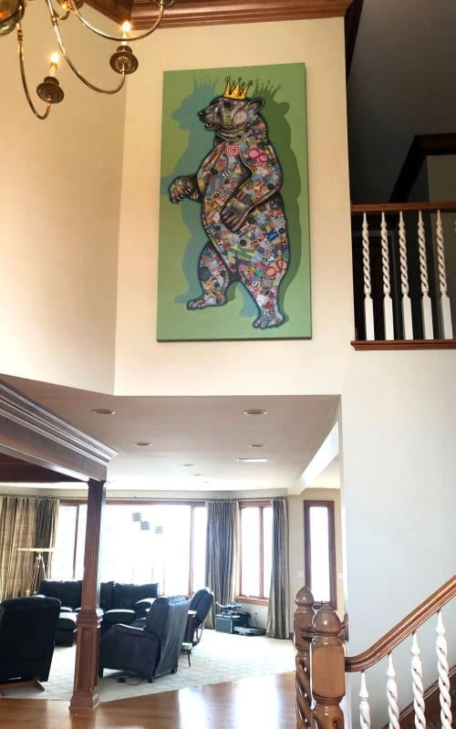 Paintings by Keith Grace seen at Private Residence, Cleveland - King Bear- original, mixed media painting