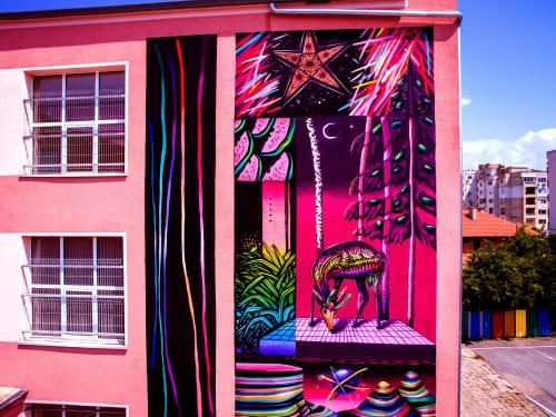 Street Murals by MishkaTheMouse seen at Sliven, Sliven - Alphabet of Imagination