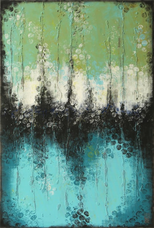 Paintings by Ronald Hunter seen at Roxier Art Gallery, Rotterdam - Boiling Bubbles Turquoise