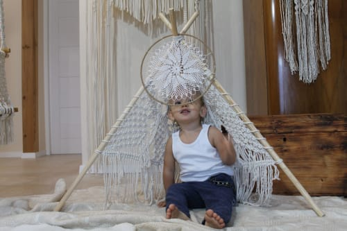 Macrame Wall Hanging by Panna Macrame seen at Private Residence, Gliwice - Macrame dream catcher and macrame teepee