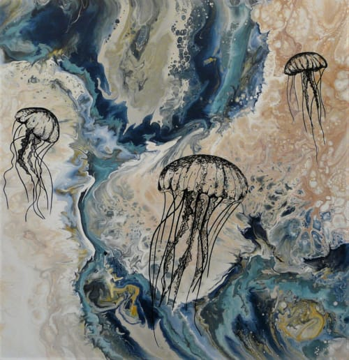Paintings by Eileen Downes seen at Petroglyphe Gallery, Mokelumne Hill - Underwater Dance