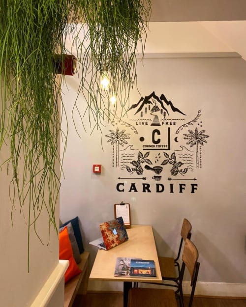 Murals by Rose McDonald seen at Corner Coffee, Cardiff - Corner Coffee Mural