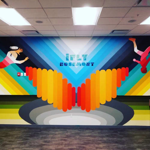 Murals by Brett Whitacre seen at iFLY, Rosemont - iFLY mural
