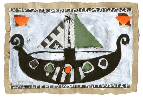 Orange & Green Viking Ship (New)   Wall Hangings by Pam (Pamela) Smilow