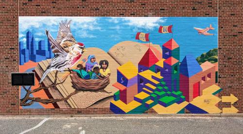 Street Murals by Jessie Novik Murals seen at Jacob H. Schiff Playground, New York - Migrations