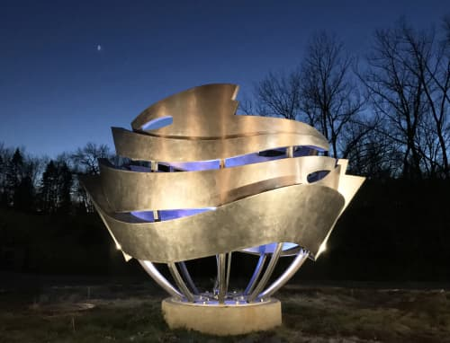 Public Sculptures by Foster Willey at Downtown East Lake St Roundabout, Wayzata, MN, Wayzata - Big Water 2017