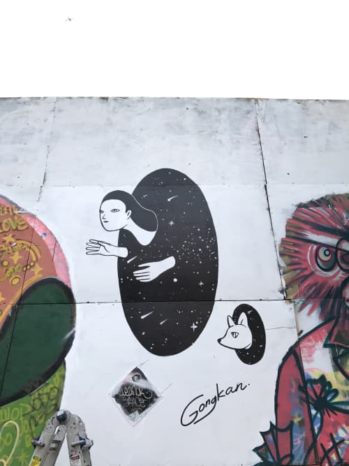 Street Murals by Kantapon Metheekul at Brooklyn New York, Brooklyn - Escaping To The Universe
