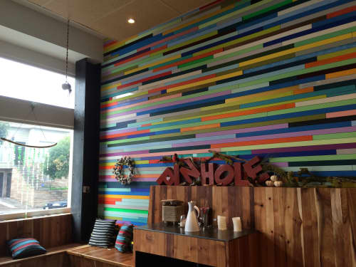 The Multicolored Wall Installation   Murals by Leah Rosenberg   Pinhole Coffee in San Francisco