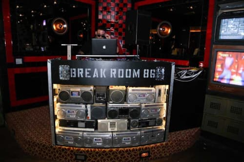 Furniture by Houston Hospitality seen at Break Room 86, Los Angeles - Custom Designed DJ Booth Of Boomboxes
