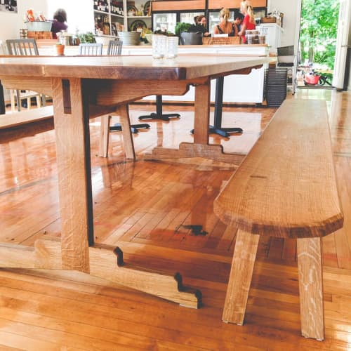 Oak Table and Seating | Tables by Asa Pingree | Calderwood Hall in North Haven