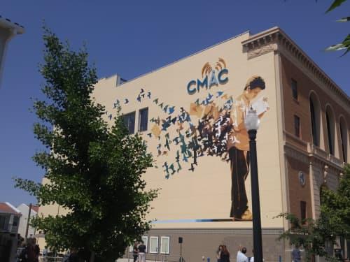 Street Murals by Francisco Letelier seen at Fresno Bee Building, Fresno - Murmuration