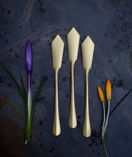 Tableware by Erica Moody | Fine Metal Work seen at Private Residence, Waldoboro - Brass Serving Knives