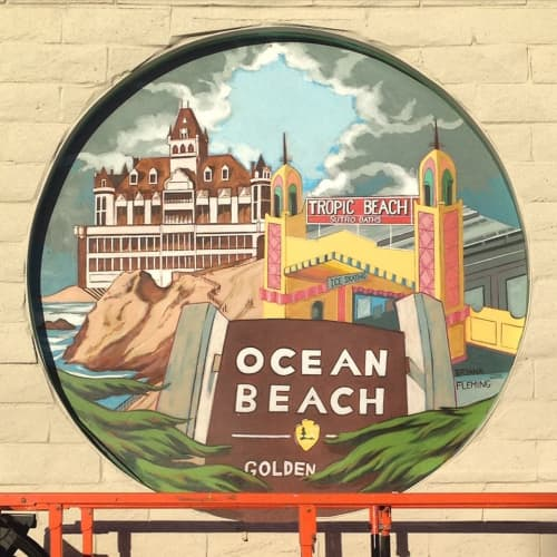 Murals by Bryana Fleming seen at Safeway, San Francisco - Ocean Beach