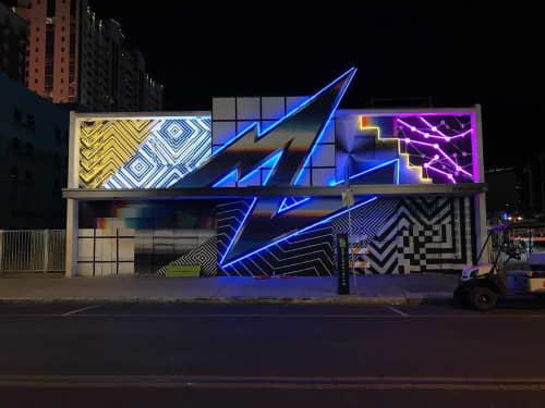 Street Murals by Felipe Pantone seen at Downtown Las Vegas, Las Vegas - Neon Lit Mural