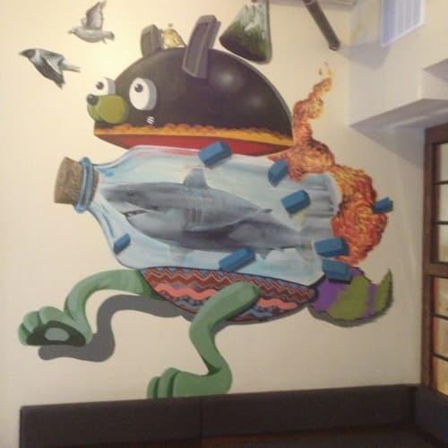 Murals by NoseGo at Elixr Coffee Roasters, Philadelphia - Shark in a Bottle